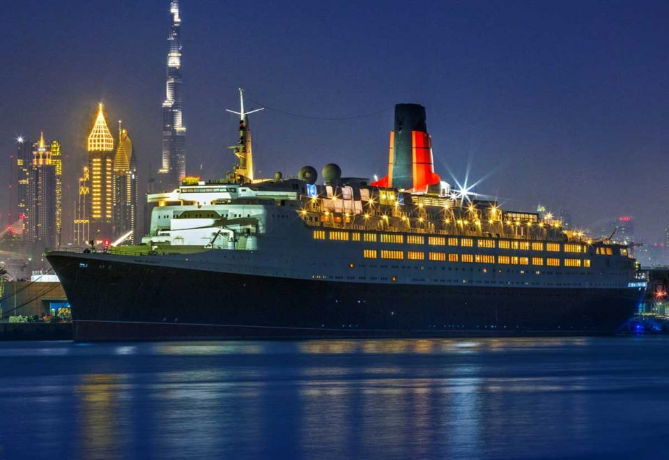 The Queen Elizabeth 2 is permanently docked at Port Rashid